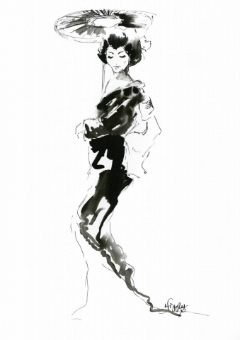 Geisha Fashion Ink Illustration 7