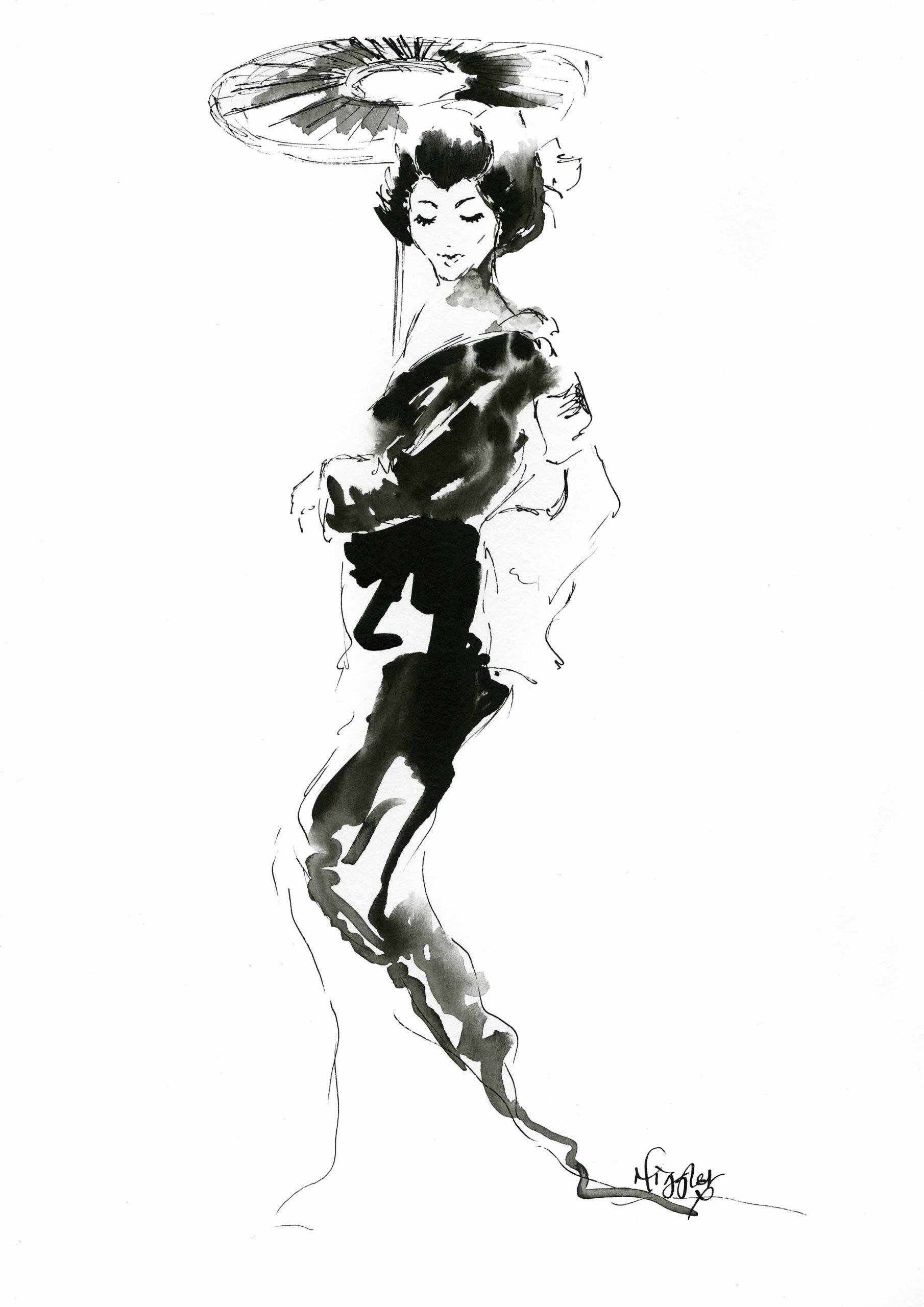Geisha Fashion Ink Illustration 7