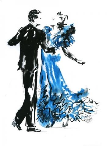Ballroom Dancers Ink Illustration