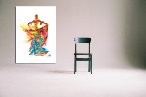 'Fire Dancer' - Large Canvas With Chair