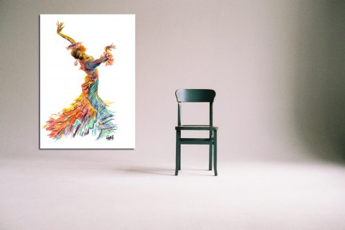 'Fuego Dance' - Large Canvas With Chair