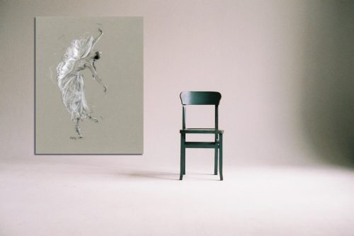 'La Mariposa Blanca' - Large Canvas With Chair