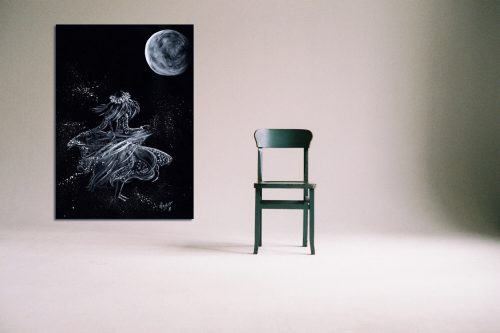 'Lela Moon' - Large Canvas With Chair