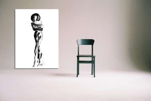 'Lizzie' - Large Canvas With Chair