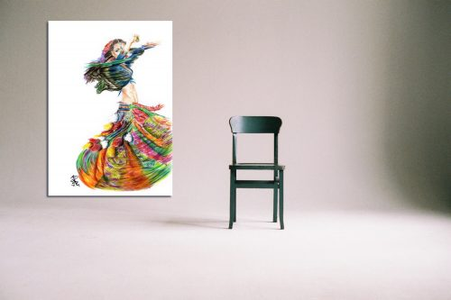 'Rainbow Gypsy' - Large Canvas With Chair