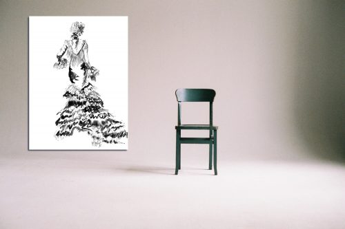 'Rose' - Large Canvas With Chair