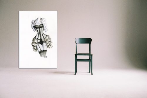 'Shades of Grey' - Large Canvas With Chair