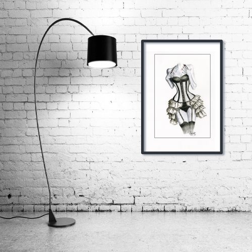 'Shades of Grey' - Wall Art with Lamp
