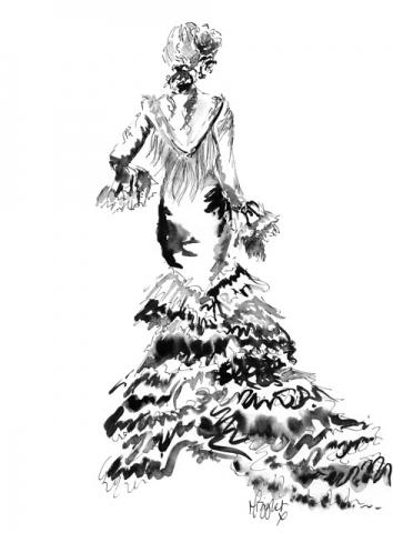 Spanish Dancer Ink Illustration 1