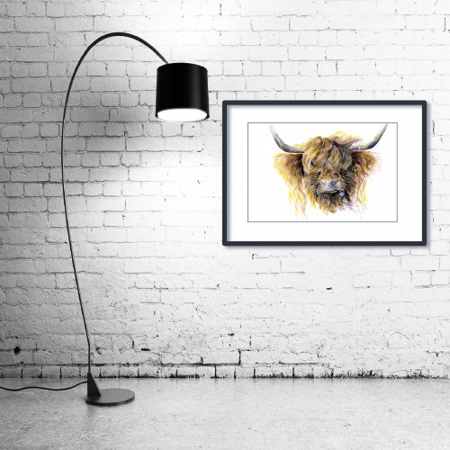 'Clover McMooFace' - Framed print with Lamp