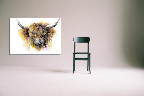 'Clover McMooFace' - Wall Art with Chair