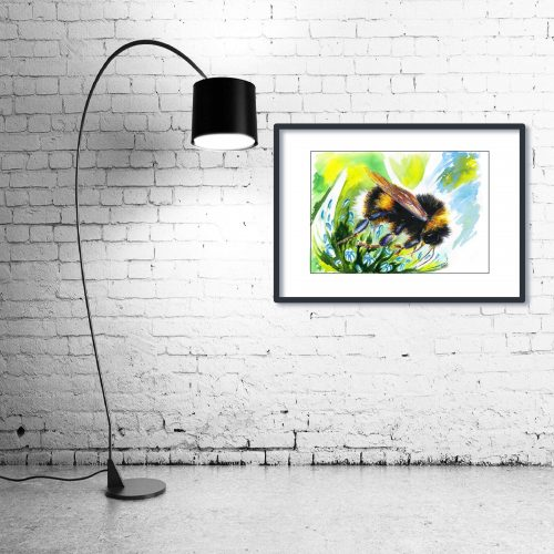 'Flight of the BumbleBee' - Framed print with Lamp
