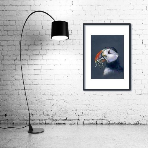 'Stuffin' Puffin' - Framed print with Lamp
