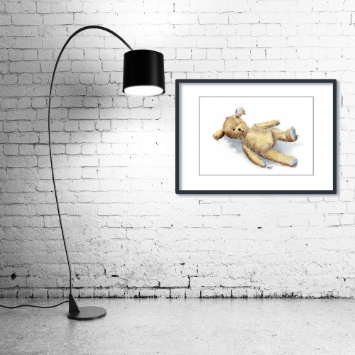 'Threadbare Ted' - Framed print with Lamp