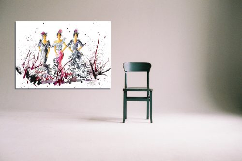 'Here Come The Girls' - Large Canvas With Chair