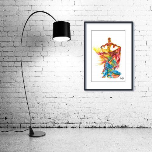 'Fire Dancer' - Wall Art with Lamp