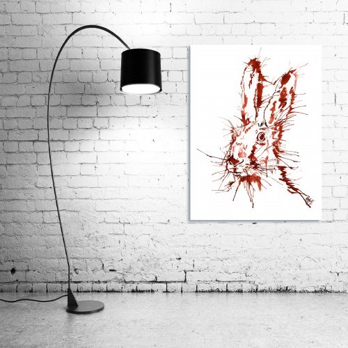'Rusty Hare' - Wall Art with Lamp