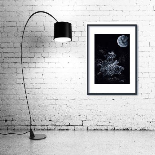 'Lela Moon' - Wall Art with Lamp