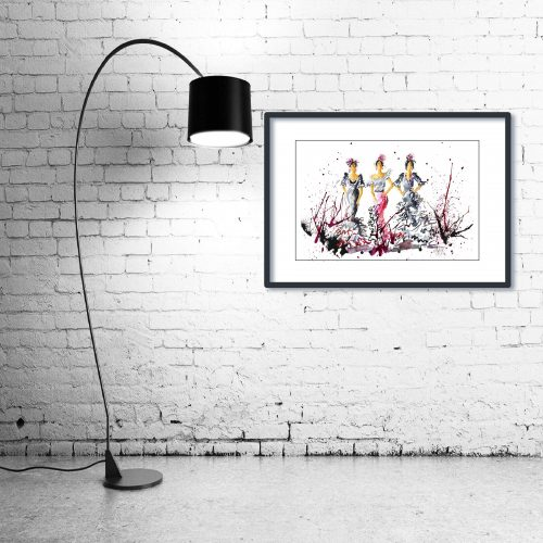 'Here Come the Girls' - Wall Art with Lamp