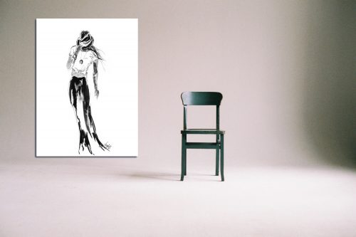 'Bobbie' - Large Canvas With Chair