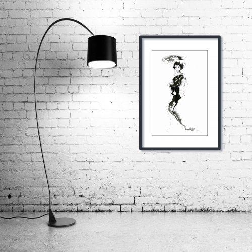 'Geisha' - Wall Art with Lamp
