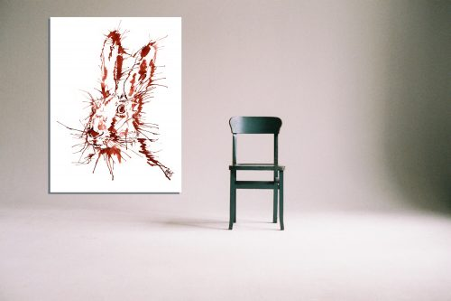'Rusty Hare' - Wall Art with Chair