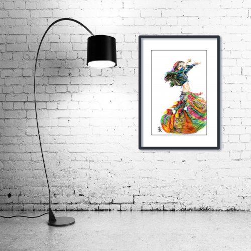 'Rainbow Gypsy' - Wall Art with Lamp