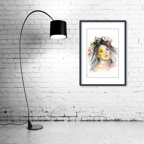 'Veil of Dreams' - Wall Art with Lamp