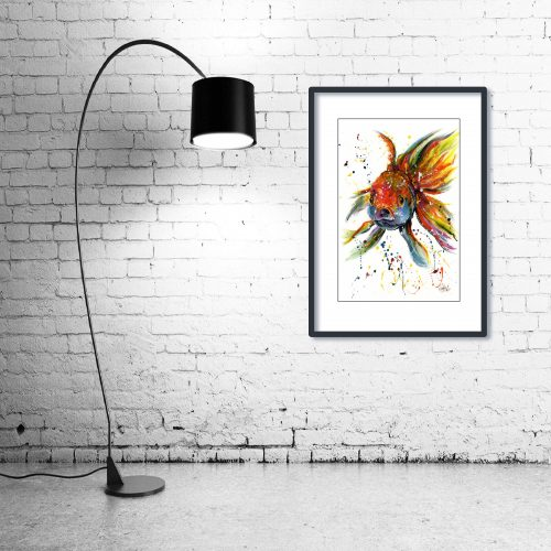 'Fishface' - Framed print with Lamp
