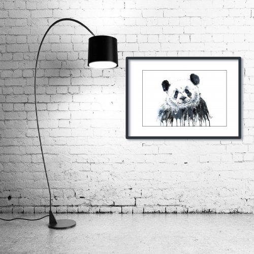 'Panda' - Framed print with Lamp