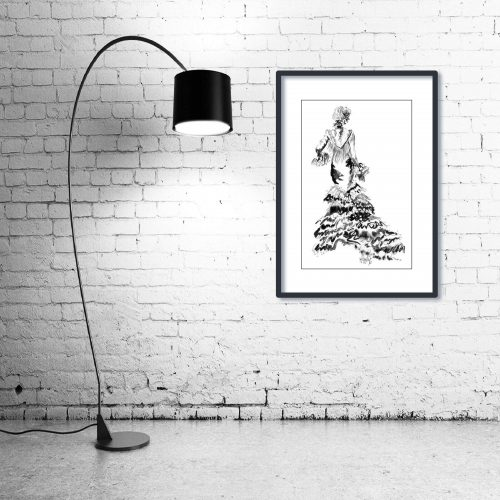 'Rose' - Wall Art with Lamp