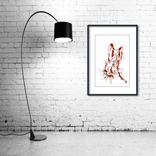 'Rusty Hare' - Framed print with Lamp