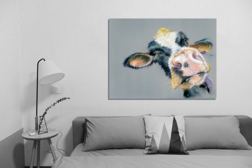 Soft Pastels Moo Cow - Wall Art with Sofa
