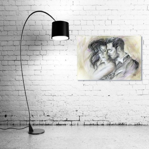 'Let There Be Love' - Framed print with Lamp