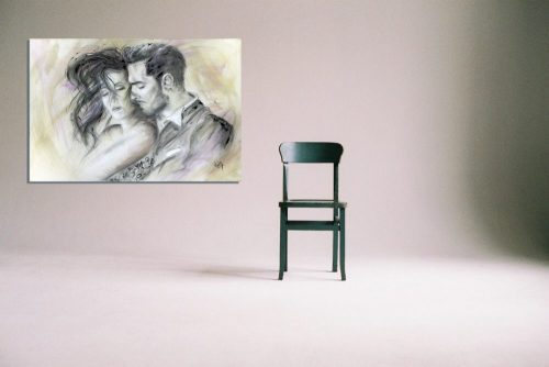 'Let There Be Love' - Framed print with Chair