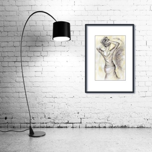 'La Vie en Rose' - Framed print with Lamp