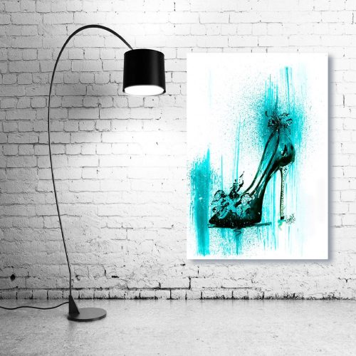 'Turquoise Stiletto' Wall Art with Lamp