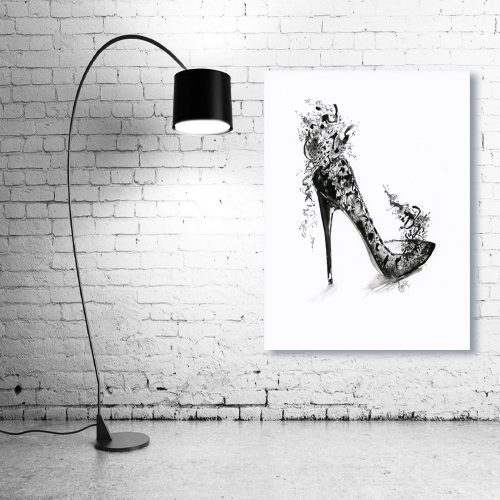 'Fantasy Black Lace Stiletto' Wall Art with Lamp