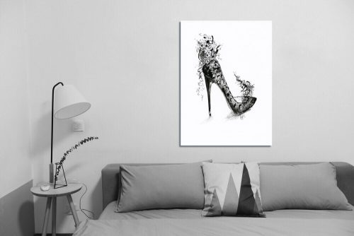 'Fantasy Black Lace Stiletto' Wall Art with Sofa