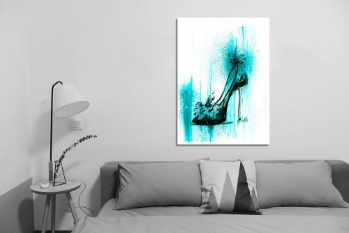'Turquoise Stiletto' Wall Art with Sofa