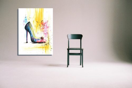 'Rainbow & Rose' Wall Art with Chair