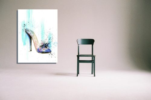 'Blue & Pink Mule' Wall Art with Chair