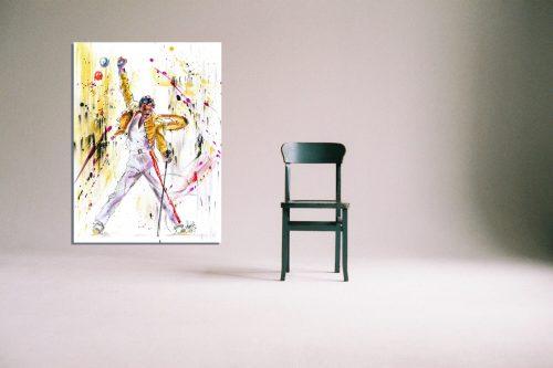 'Freddie Mercury - The Legend' - Framed print with Chair