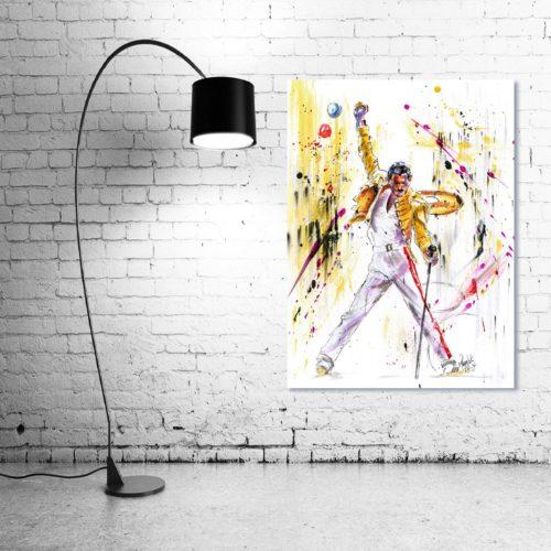 'Freddie Mercury - The Legend' - Framed print with Lamp