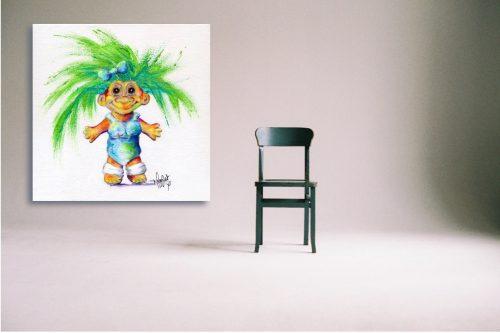 Luminous-Lil-Troll-Wall-Art-with-Chair