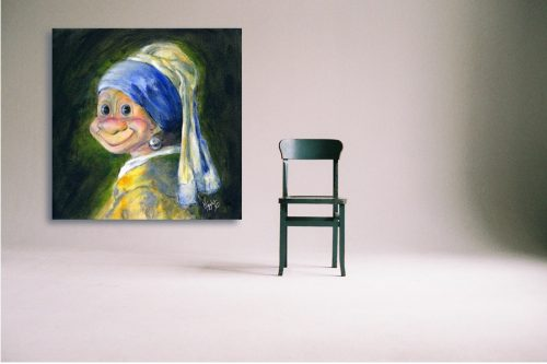Troll-with-Pearl-earring-Troll-Wall-Art-with-Chair