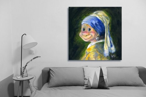 Troll-with-Pearl-earring-Troll-Wall-Art-with-Sofa